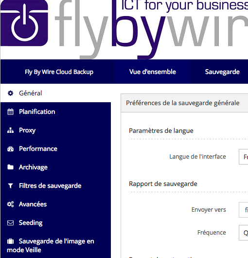 Fly By Wire Cloud Backup interface utilisateur